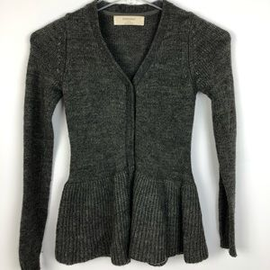 Zara knit peplum sweater alpaca wool blend Small